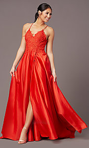 Image of embroidered-bodice PromGirl long formal prom dress. Style: PG-B2013 Detail Image 3