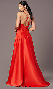Image of embroidered-bodice PromGirl long formal prom dress. Style: PG-B2013 Detail Image 4