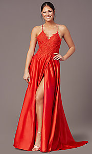 Image of embroidered-bodice PromGirl long formal prom dress. Style: PG-B2013 Detail Image 6