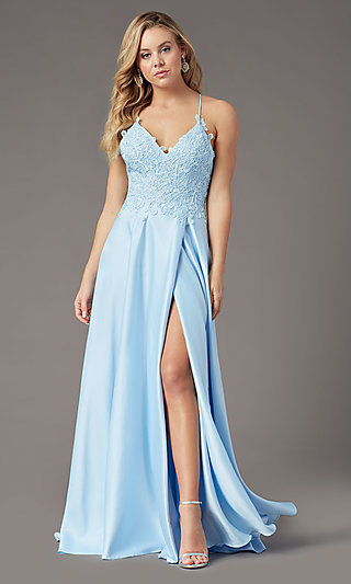 Embroidered-Bodice PromGirl Long Formal Prom Dress