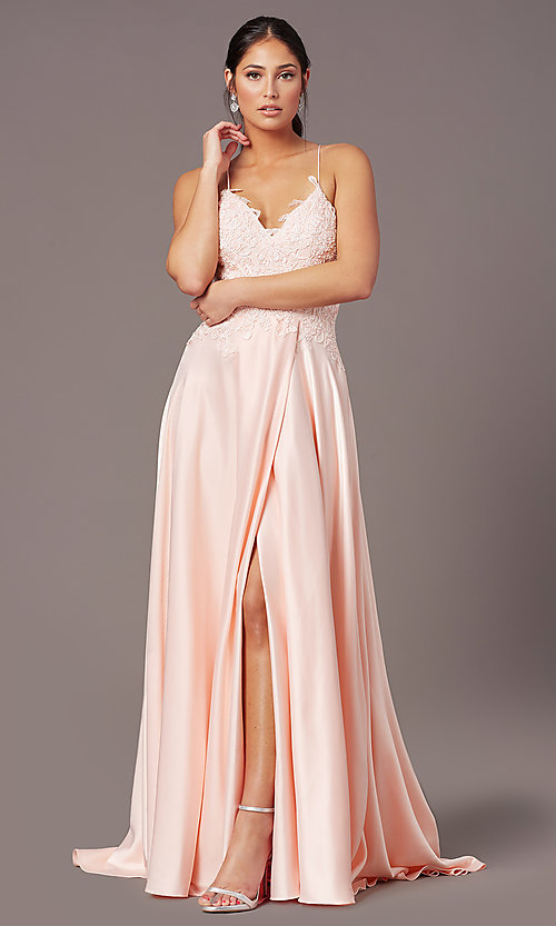 Image of embroidered-bodice PromGirl long formal prom dress. Style: PG-B2013 Detail Image 2
