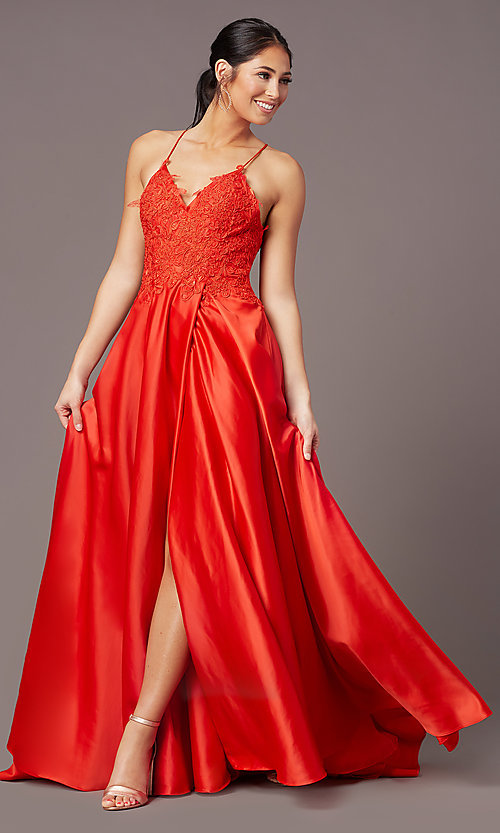 Image of embroidered-bodice PromGirl long formal prom dress. Style: PG-B2013 Front Image