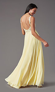 Image of beaded-bodice PromGirl long formal prom dress. Style: PG-B2014 Detail Image 4