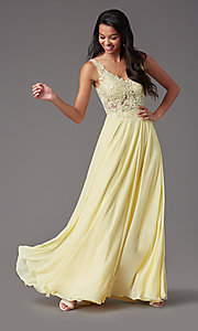 Image of beaded-bodice PromGirl long formal prom dress. Style: PG-B2014 Detail Image 5