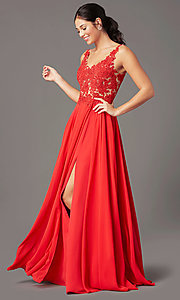 Image of beaded-bodice PromGirl long formal prom dress. Style: PG-B2014 Detail Image 2