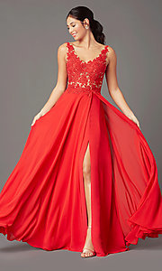 Image of beaded-bodice PromGirl long formal prom dress. Style: PG-B2014 Front Image