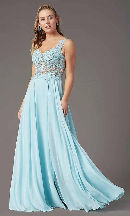 Image of beaded-bodice PromGirl long formal prom dress. Style: PG-B2014 Detail Image 6