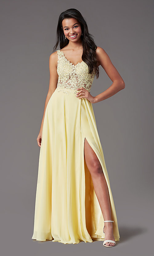 Image of beaded-bodice PromGirl long formal prom dress. Style: PG-B2014 Detail Image 3