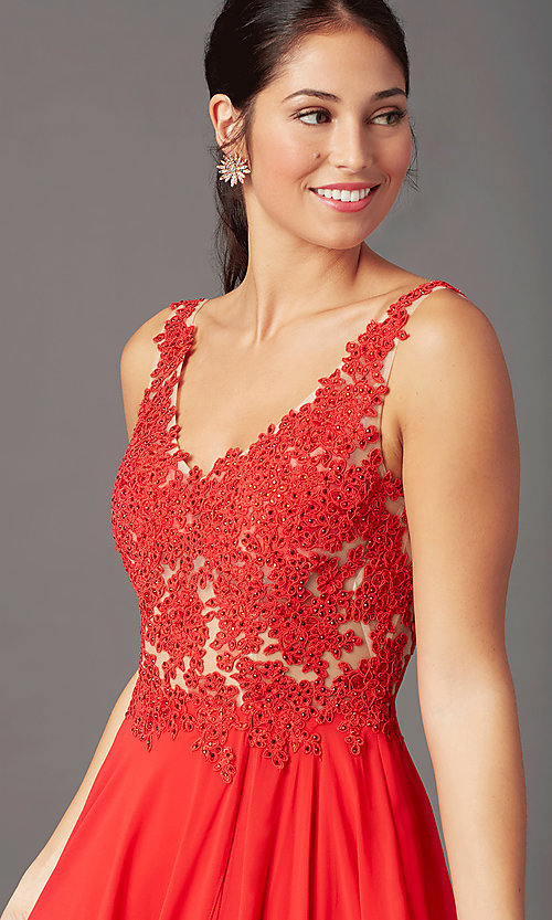 Image of beaded-bodice PromGirl long formal prom dress. Style: PG-B2014 Detail Image 1
