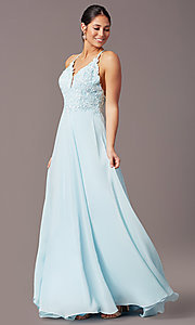 Image of long multi-strap open-back prom dress by PromGirl.  Style: PG-B2015 Back Image
