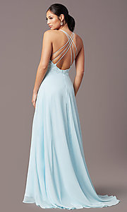 Image of long multi-strap open-back prom dress by PromGirl.  Style: PG-B2015 Front Image