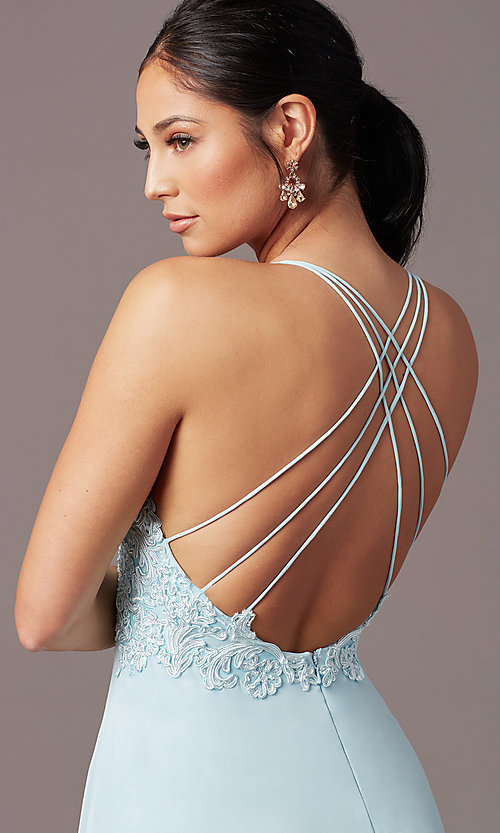 Image of long multi-strap open-back prom dress by PromGirl.  Style: PG-B2015 Detail Image 1