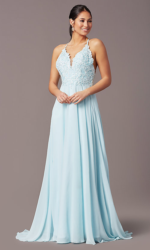 Image of long multi-strap open-back prom dress by PromGirl.  Style: PG-B2015 Detail Image 2