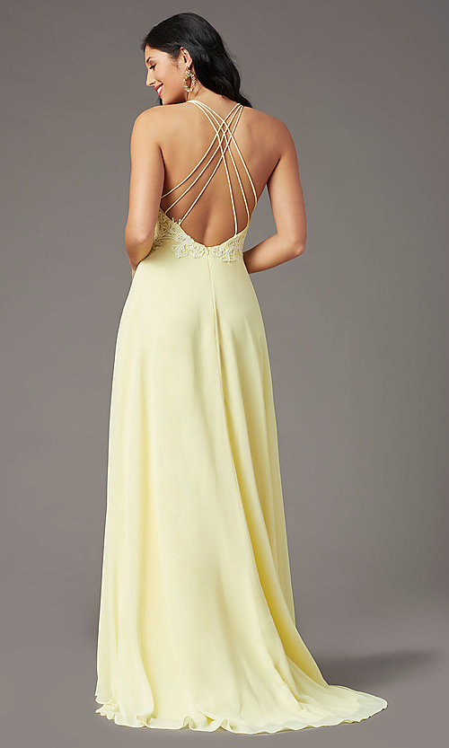 Image of long multi-strap open-back prom dress by PromGirl.  Style: PG-B2015 Detail Image 4