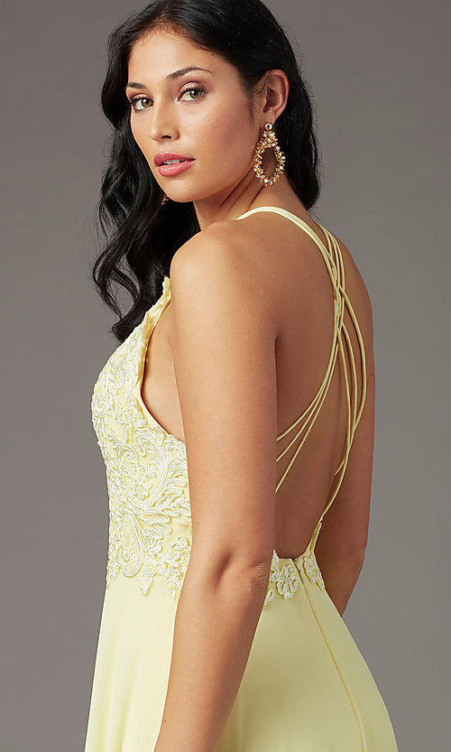 Image of long multi-strap open-back prom dress by PromGirl.  Style: PG-B2015 Detail Image 5