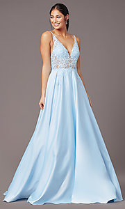 Image of PromGirl long formal prom dress with pockets. Style: PG-B2017 Front Image