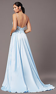 Image of PromGirl long formal prom dress with pockets. Style: PG-B2017 Back Image