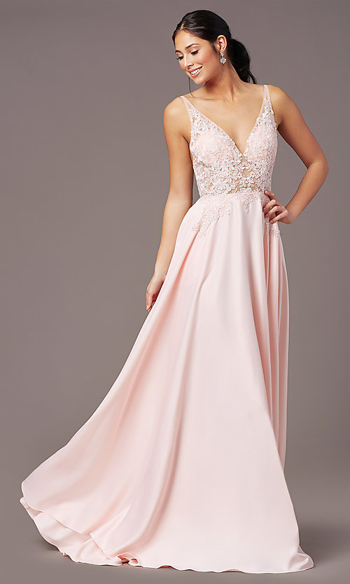 Image of PromGirl long formal prom dress with pockets. Style: PG-B2017 Detail Image 3