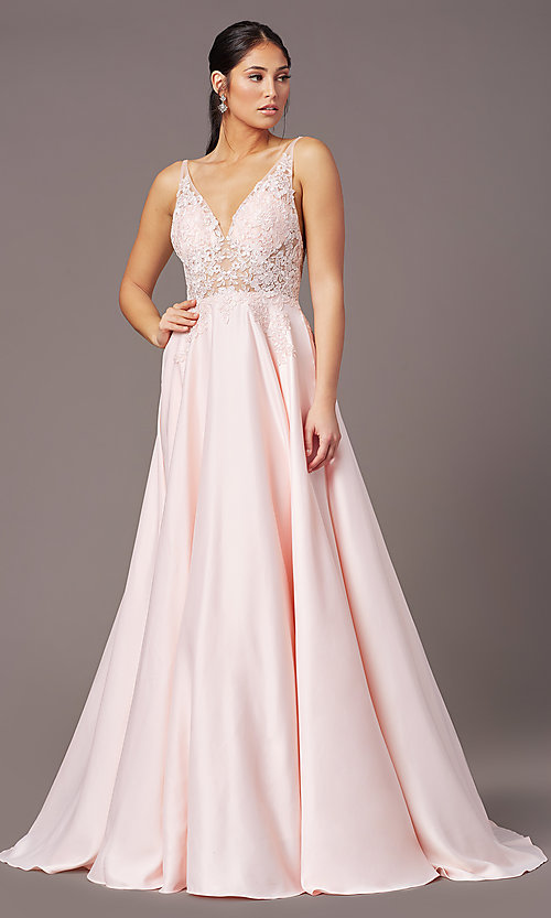 Image of PromGirl long formal prom dress with pockets. Style: PG-B2017 Detail Image 5