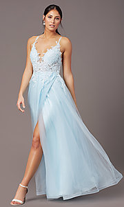 Image of v-neck long tulle formal prom dress by PromGirl. Style: PG-B2020 Detail Image 3