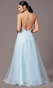 Image of v-neck long tulle formal prom dress by PromGirl. Style: PG-B2020 Detail Image 4