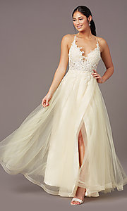 Image of v-neck long tulle formal prom dress by PromGirl. Style: PG-B2020 Front Image