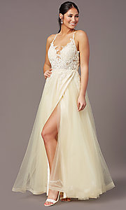Image of v-neck long tulle formal prom dress by PromGirl. Style: PG-B2020 Detail Image 2