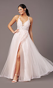 Image of v-neck long tulle formal prom dress by PromGirl. Style: PG-B2020 Detail Image 6