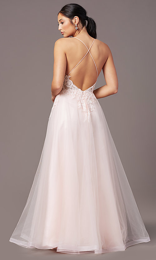 Image of v-neck long tulle formal prom dress by PromGirl. Style: PG-B2020 Detail Image 7
