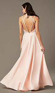 Image of sweetheart long satin prom dress by PromGirl. Style: PG-B2026 Detail Image 2