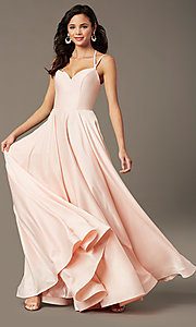 Image of sweetheart long satin prom dress by PromGirl. Style: PG-B2026 Detail Image 1