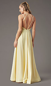 Image of sweetheart long satin prom dress by PromGirl. Style: PG-B2026 Back Image