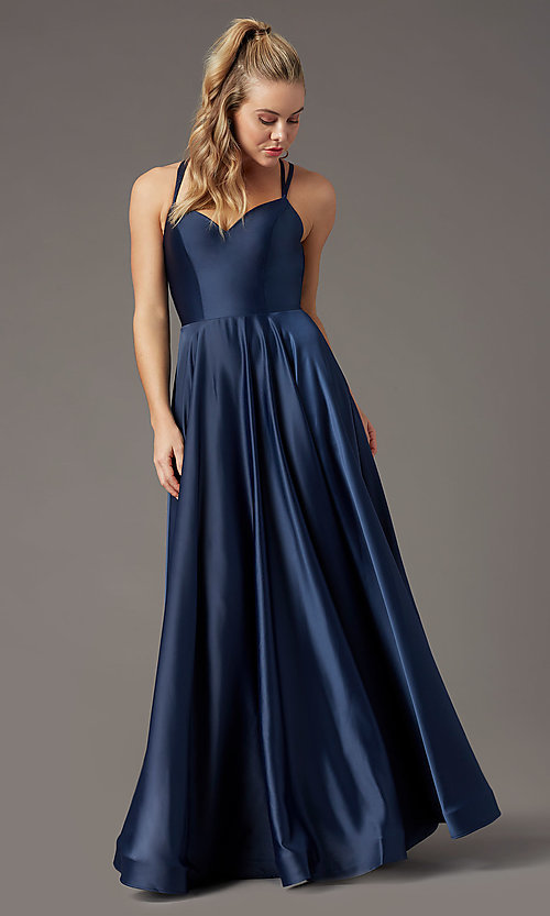 Image of sweetheart long satin prom dress by PromGirl. Style: PG-B2026 Detail Image 6
