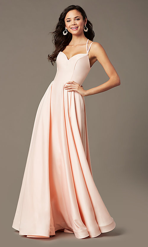 Image of sweetheart long satin prom dress by PromGirl. Style: PG-B2026 Detail Image 4