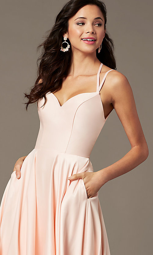 Image of sweetheart long satin prom dress by PromGirl. Style: PG-B2026 Detail Image 3
