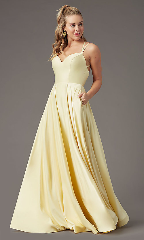 Image of sweetheart long satin prom dress by PromGirl. Style: PG-B2026 Front Image