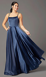 Image of a-line PromGirl prom dress with horsehair hem. Style: PG-B2027 Detail Image 3