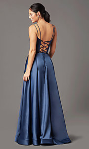 Image of a-line PromGirl prom dress with horsehair hem. Style: PG-B2027 Detail Image 4