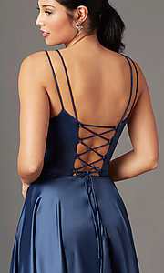 Image of a-line PromGirl prom dress with horsehair hem. Style: PG-B2027 Detail Image 5