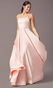 Image of a-line PromGirl prom dress with horsehair hem. Style: PG-B2027 Front Image