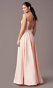 Image of a-line PromGirl prom dress with horsehair hem. Style: PG-B2027 Back Image