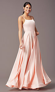 Image of a-line PromGirl prom dress with horsehair hem. Style: PG-B2027 Detail Image 2