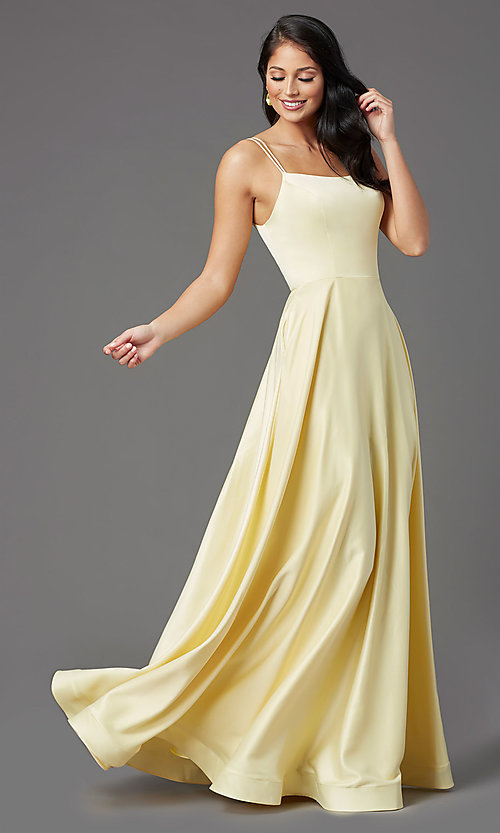 Image of a-line PromGirl prom dress with horsehair hem. Style: PG-B2027 Detail Image 7