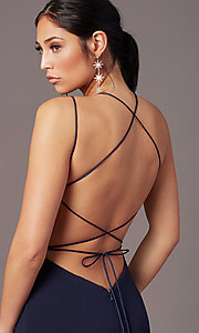 Image of corset-tie-back long formal prom dress by PromGirl. Style: PG-B2031 Detail Image 5