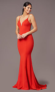 Image of corset-tie-back long formal prom dress by PromGirl. Style: PG-B2031 Detail Image 2