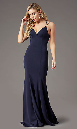 Corset-Tie-Back Long Formal Prom Dress by PromGirl