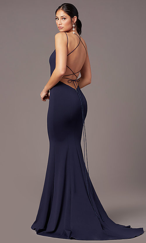Image of corset-tie-back long formal prom dress by PromGirl. Style: PG-B2031 Detail Image 4