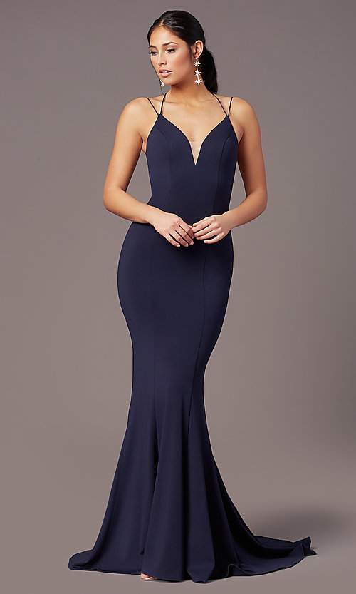 Image of corset-tie-back long formal prom dress by PromGirl. Style: PG-B2031 Detail Image 3