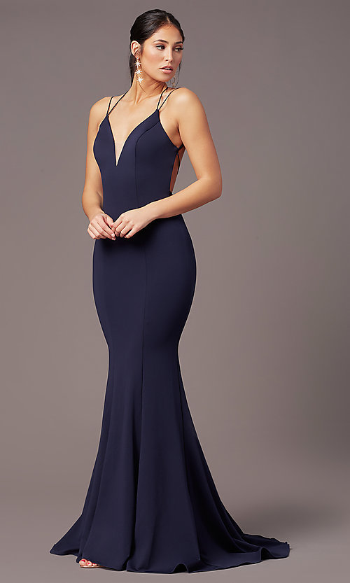 Image of corset-tie-back long formal prom dress by PromGirl. Style: PG-B2031 Detail Image 6