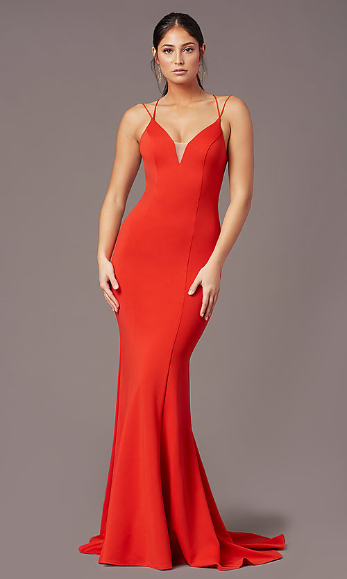 Image of corset-tie-back long formal prom dress by PromGirl. Style: PG-B2031 Back Image